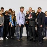 Mason Burrell presents the Arnolds Keys Cup for Drama and Performance to Paston College 620x332