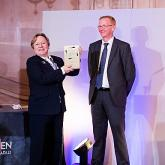Jan Hytch of Arnolds Keys receives her Lifelong Achievement award from Mike Smith head of Propertymark Qualifications